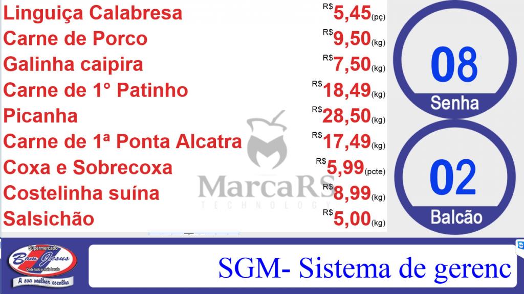 Tela do sistema SGM Senhas com cardápio